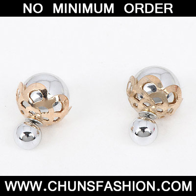 Silver Round Shape Hollow Out Stud Earring