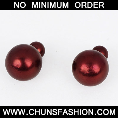 Dark Red Round Shape Stud Earring