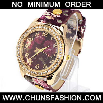 Dark Purple Rose Pattern Ladies Watch