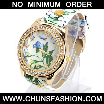 Green Flower Pattern Ladies Watch