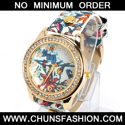 Blue Flower Pattern Ladies Watch