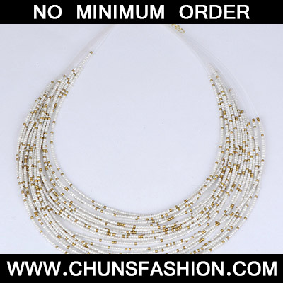 White Beads Multilayer Necklace