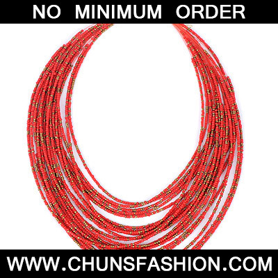 Red Beads Multilayer Necklace
