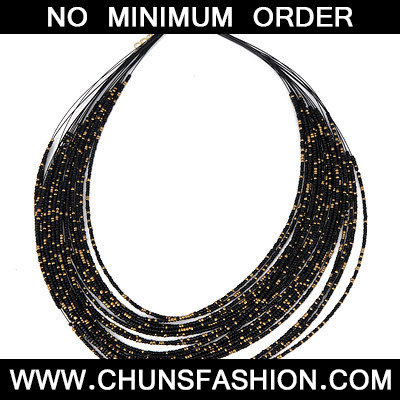 Black Beads Multilayer Necklace