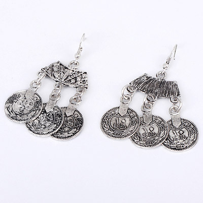 Antique Silver Coins Shape Earring