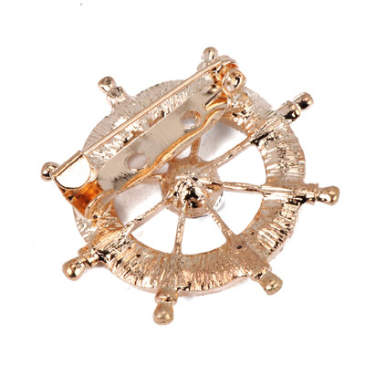 Gold Diamond Anchor Shape Brooche