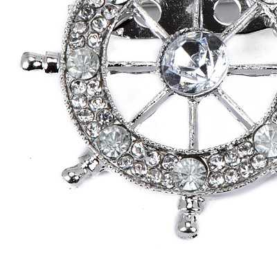 Silver Diamond Anchor Shape Brooche