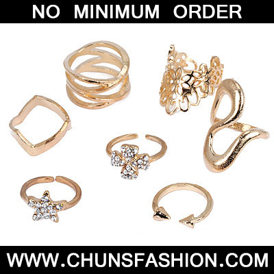 Gold Diamond Star Shape Rings 7pcs