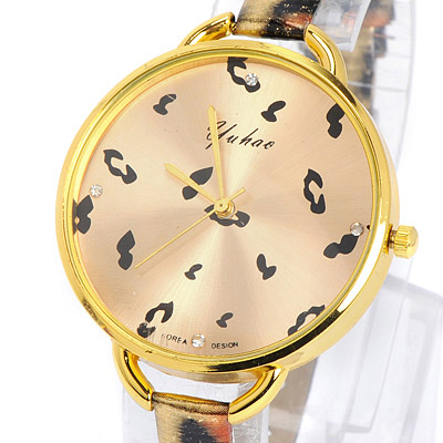 Gold Leopard Pattern Pu Ladies Watch