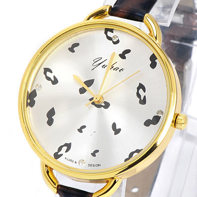 Coffee Leopard Pattern Pu Ladies Watch