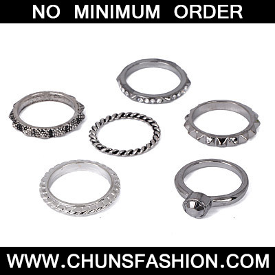 Gun Black Diamond Rings 6pcs