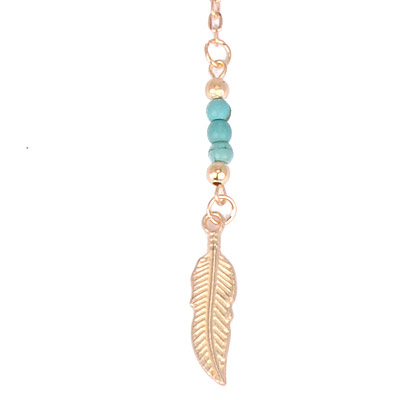 Gold & Blue Beads Leaf Shape