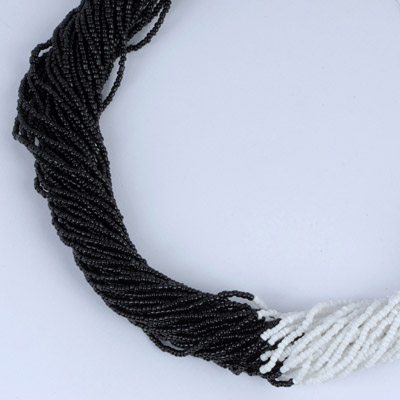 White & Black Beads Weave Necklace