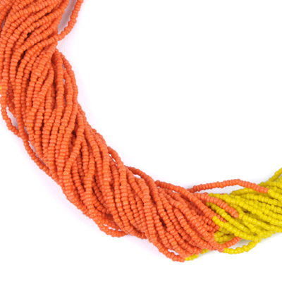 Yellow & Orange Beads Weave Necklace