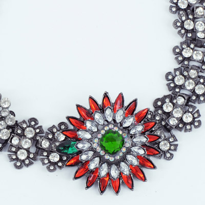 Red & Green Diamond Flower Necklace