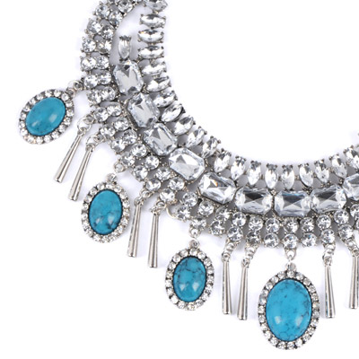 Blue Oval Shape Necklace - Click Image to Close
