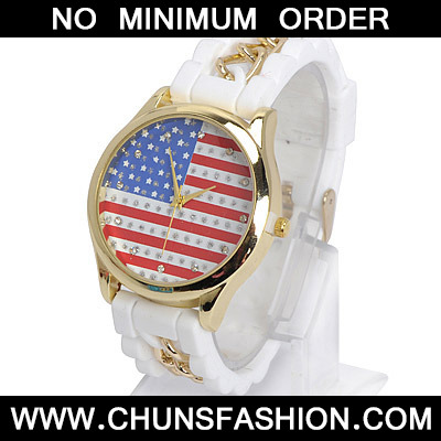 White Diamond Flag Pattern Ladies Watch