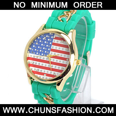 Green Diamond Flag Pattern Ladies Watch
