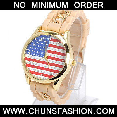 Khaki Diamond Flag Pattern Ladies Watch