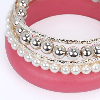 Watermelon Red Pearl Multilayer Bangle