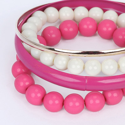 Plum Red Pearl Multilayer Bangle