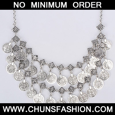 Silver Coin Shape Double Layer Necklace