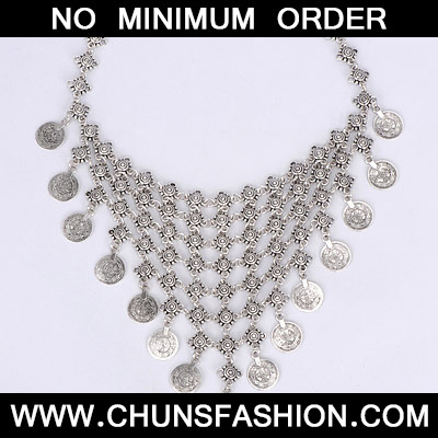 Silver Coin Shape Multilayer Necklace