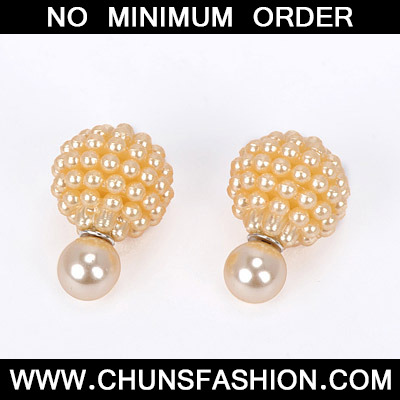 Champagne Gold Pearl Round Shape Stud Earring