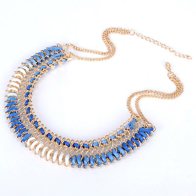 Blue & White Diamond Waeve Necklace