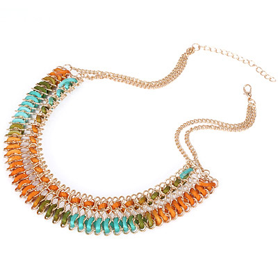 Orange & Green Diamond Waeve Necklace