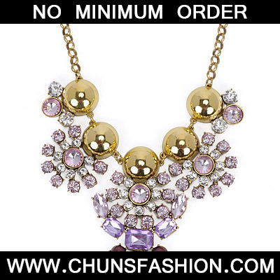 Gold & Pink Diamond Flower Necklace