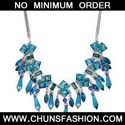 Blue Diamond Tassel Necklace