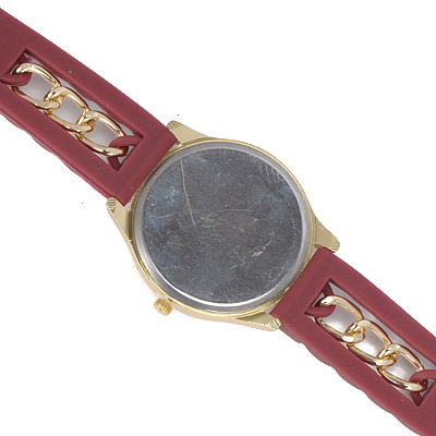 Claret red Chain Electronic Elements Ladies Watch