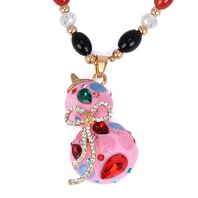 Pink Diamond Gourd Pendant Necklace