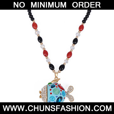 Blue Diamond Fish Pendant Necklace