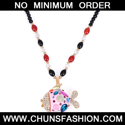 Pink Diamond Fish Pendant Necklace