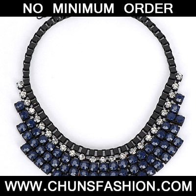 Dark Blue Diamond Multilayer Necklace
