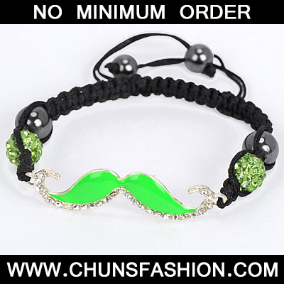 Green Diamond Moustache Shape Bracele