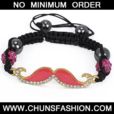 Watermelon Red Diamond Moustache Shape Bracele