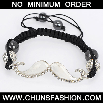 White Diamond Moustache Shape Bracele