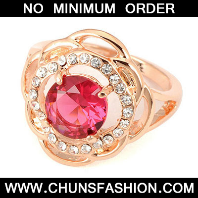 Plum Red Flower Ring