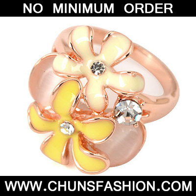 Yellow Flowers Opal Ring
