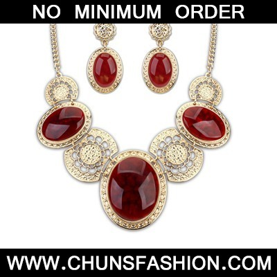 Claret Red Luxury Decorared Jewelry Set