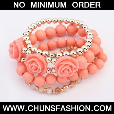Peach Red Rose Bangle