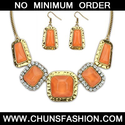 Orange Square Jewelry Set