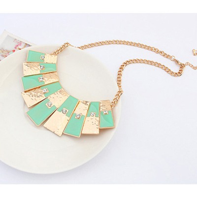 Light Green Rectangle Pendant Necklace