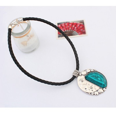 Blue Oval Shape Pendant Necklace