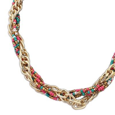 MultiWeave Beads And Metal Twist Necklace