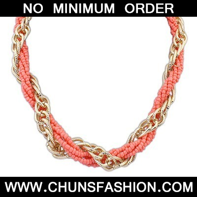 Peach Red Weave Beads And Metal