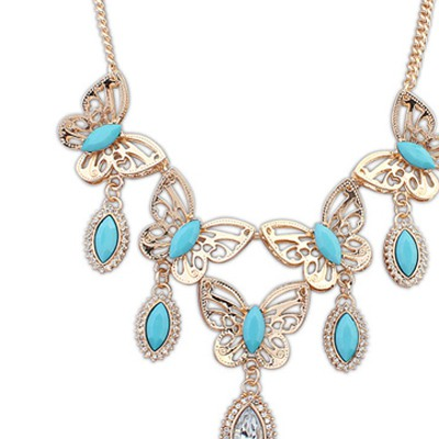 Light Blue Hollow Out Butterfly Necklace